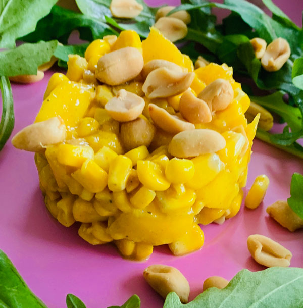 Mais Erdnuss Mango Tatar