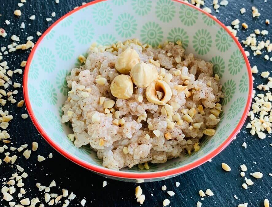 Haselnuss Reis Porridge